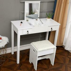 Vanity Makeup Dressing Table Set 2 Drawers w Stool amp; Flip top Mirror White