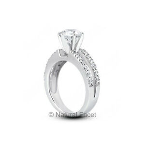 5.90ctw E/SI1 Round Cut Earth Mined Certified Diamonds Platinum Side Stone Ring