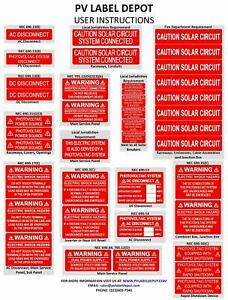 40 Premium UV Resistant Solar PV Safety Warning Photovoltaic System Labels