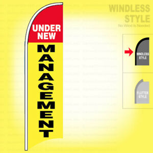 UNDER NEW MANAGEMENT Windless Swooper Flag 2.5x11.5 ft Feather Banner Sign yb $23.99