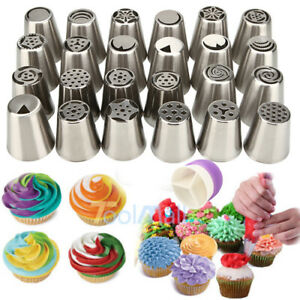 24 Pcs Russian Flower Icing Piping Nozzles Cake Decoration Tips Baking Tools kit