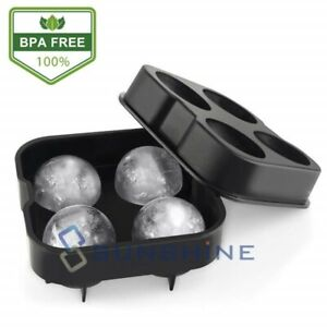 Black Round Silicon Ice Cube Ball Maker Tray 4 Large Sphere Molds Bar w/ Funnel