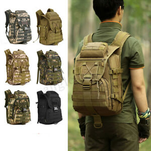 Canvas Outdoor Military Tactical Bag Camping Hiking Trekking Backpack Rucksack