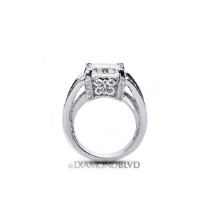 5.35 CT D/VS1 Radiant Natural Diamonds Platinum Vintage Style Side Stone Ring