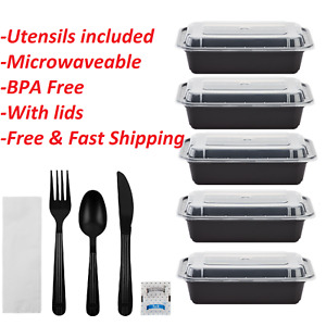 24oz BPA Free Plastic Food Containers with Lids & Wrapped Disposable Utensil Set