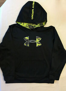 Under Armour Print-Filled Large Logo Hoodie Black Boys Size YLG 14