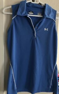 Women's UNDER ARMOUR Blue and White Sleeveless Polo Shirt Golf Size M
