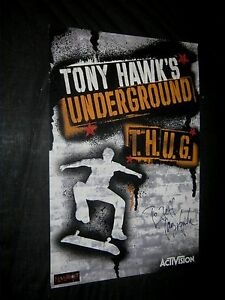 Original Signed in Person TONY HAWK'S UNDERGROUND Skateboard Video Game Poster