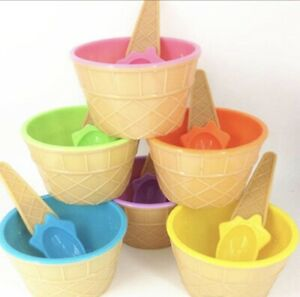 Kids Ice Cream And Dessert Bowls With Spoons -Pack of 6 Vibrant Colors