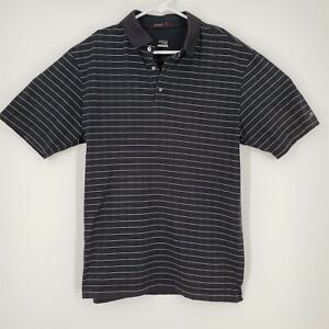 Mens Nike Tiger Woods Collection Striped Medium Black White Polo Shirt Fit Dry