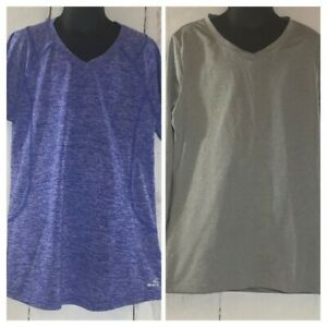 Set of 2 BCG Girls Large 12 14 Dri Fit Shirts LongSleeve Gray ShortSleeve Blue $12.99
