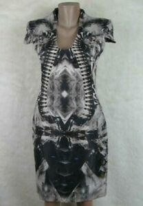 ALEXANDER McQUEEN Iconic Skeleton Kaleidoscope Illusion Ptint Dress Sz 38 Italy