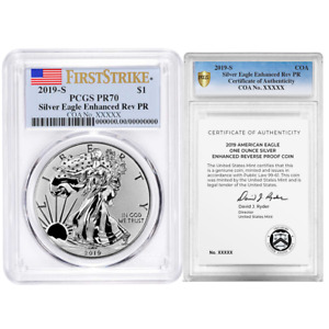 2019-S Enhanced Reverse Proof $1 American Silver Eagle / COA # PCGS PR70 FS Flag