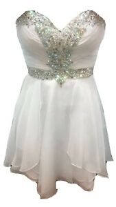 Beautiful White Cocktail prom Dress With Beading Size XS Excellent Condition