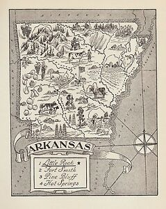 1950s Antique ARKANSAS State Map Animated Arkansas Picture Map Art BW 4731