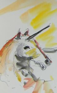 JOSE TRUJILLO ORIGINAL Watercolor Painting Magical Fantasy Unicorn Animal Artist $79.00