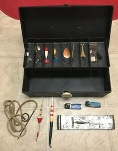 Vintage Old Pal PF 1040 Black Fishing Tackle Box W Old Lures Lot 1970's