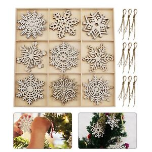 Merry Christmas Snowflake Hanging 27pcs Wooden Ornaments Party Home Holiday