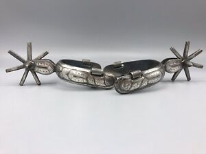 Rare SIGNED Old Cowboy Mexican Vaquero Spurs Silver Engraved 1880s 1890s