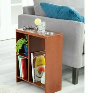Walnut Side End Sofa Table Drink Cup Holder Storage Book Shelf