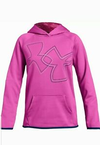 Under Armour Big Girls Size 8 Pink Long Sleeve  Shirt Pullover Hoodie Dual Logo