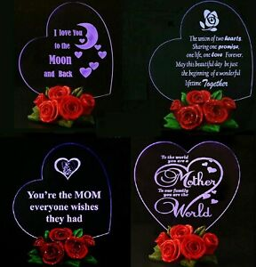 MOTHER'S DAY GIFT FOR HER LED Light Heart Decor Rose Base Women Girl Wife Mom