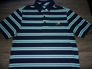 UA Under Armour Heat Gear Mens Blue & Teal Striped Golfing Polo Shirt Size Small