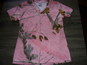 New Russell Outdoors Womens Pink Realtree Camouflage V Neck Tshirt Size Medium