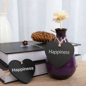 10pcs Wood Mini Chalkboard Signs with Hang Rope Heart Design for Text Price Tags
