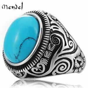 MENDEL Vintage Native Indian Mens Oval Turquoise Ring Stainless Steel Size 7 15 $9.99