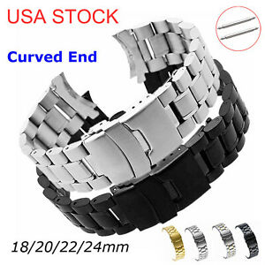 USA 18 24mm 316L Solid Stainless Steel Watch Band Curved Ends Double Lock Buckle $11.90