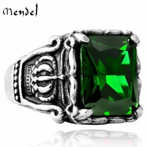 MENDEL Stainless Steel Mens Crown Faux Green Emerald Stone Ring Men Size 7 15 $10.99