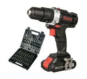 20V Cordless Impact Drill,2-Speed 21+1 Position Keyless Clutch + Screwdrive bit