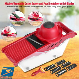 7 In1 Manual Vegetable Slicer Potato Fruit Cutter Stainless Mandoline Kitchen US