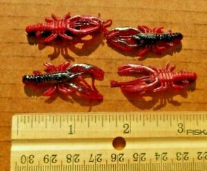 50ct RED SHAD 1.5quot; MICRO CRAWS Crappie Fishing Baits Trout Lures Crawfish Baits