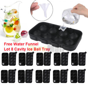 10 Set 20 PCS Round Silicon Ice Cube Balls Maker Tray 8 Large Sphere Molds Bar