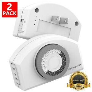 Fosmon 2x [ETL] Indoor 24 Hour Mechanical 2 Prong Wall Outlet Timer Plug Adapter