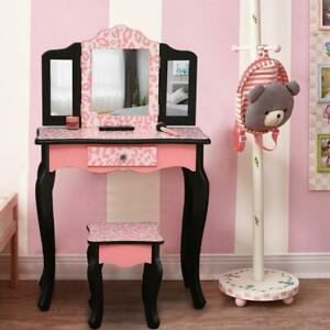 Kids Girls Vanity Table Makeup Set for W Drawers Dressing Desk w Mirror Stool