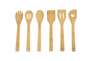 Bamboo Kitchen Cooking Utensils Set - 6 Pieces Bamboo Wooden Spoons