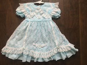 LACE ME FANCY Vintage Girls Pageant DRESS Aqua Blue Party Sz L? 2T 3T