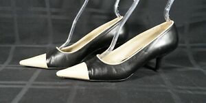 CHANEL Black & Cream Pointed Cap Toe Mid High Heel Pumps Size 37.5
