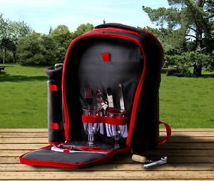 Insulated Picnic Basket Set - Red Lunch Tote Backpack Cooler w/ 2 Place Settings
