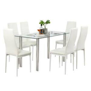 Durable Different Style 5 Piece Dining Table Settables Glass Metal Furniture NEW