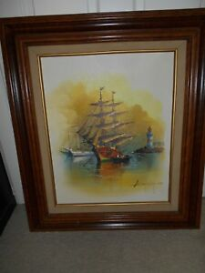 VINTAGE FRAMED OIL PAINTING SEASCAPE*SAILBOATS AND LIGHTHOUSE* SIGNED BY ARTIST $129.99