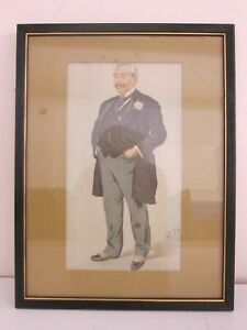 #3 Antique c. Late 1800s Vanity Fair Dapper Gentleman Lithograph Framed 13x17