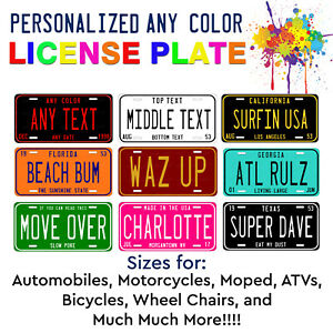 Color Pop Any State Any Color Custom License Plate For Auto ATV Bike Bicycle $17.99