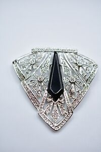Vintage Les Bernard Signed Pin Brooch Rhinestone Crystal Black Inlay Silver BinF $44.62