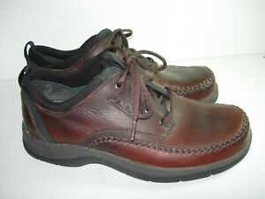 MENS BROWN LEATHER CLARKS OXFORDS TRAVEL TREK COMFORT LACE UP SHOES SIZE 9 W $32.99