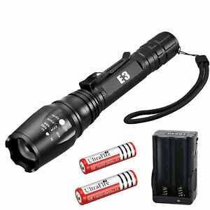 Tactical Police 990000Lumens 5 Modes 18650 T6 LED Flashlight Aluminum Zoom Torch