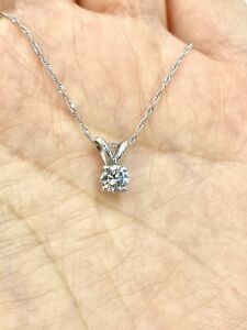 14k White Gold .30ct Natural Real Diamond Pendant Necklace 18""